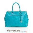 義大利Terrazzo -蠟感牛皮湖水藍真皮醫生包23J0011A10434