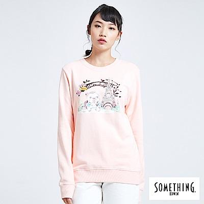 買一送一 BONBON法鬥哥 巴黎下午茶 厚長袖T恤-女-粉紅