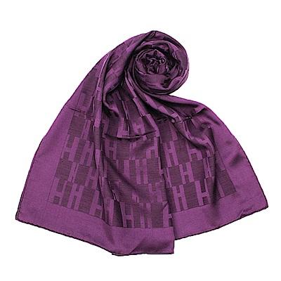 HERMES Faconnee Muffler 經典H Logo 羊絨混絲圍巾-(深紫色)