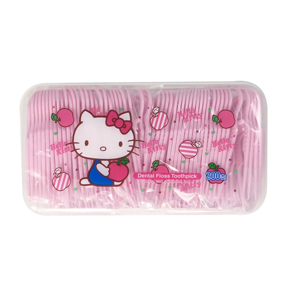 Hello Kitty 凱蒂貓 超韌牙線棒 200 支(盒裝) X 6 盒(台灣製)