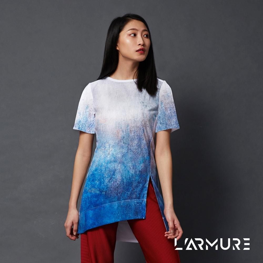 L'ARMURE 女裝 TCool 女士長版T恤 (金屬紋理印花)