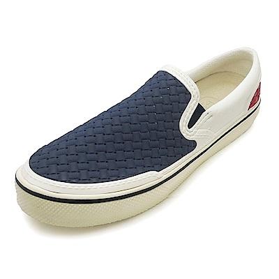(女)Ponic&Co美國加州環保防水編織懶人鞋-藍白紅