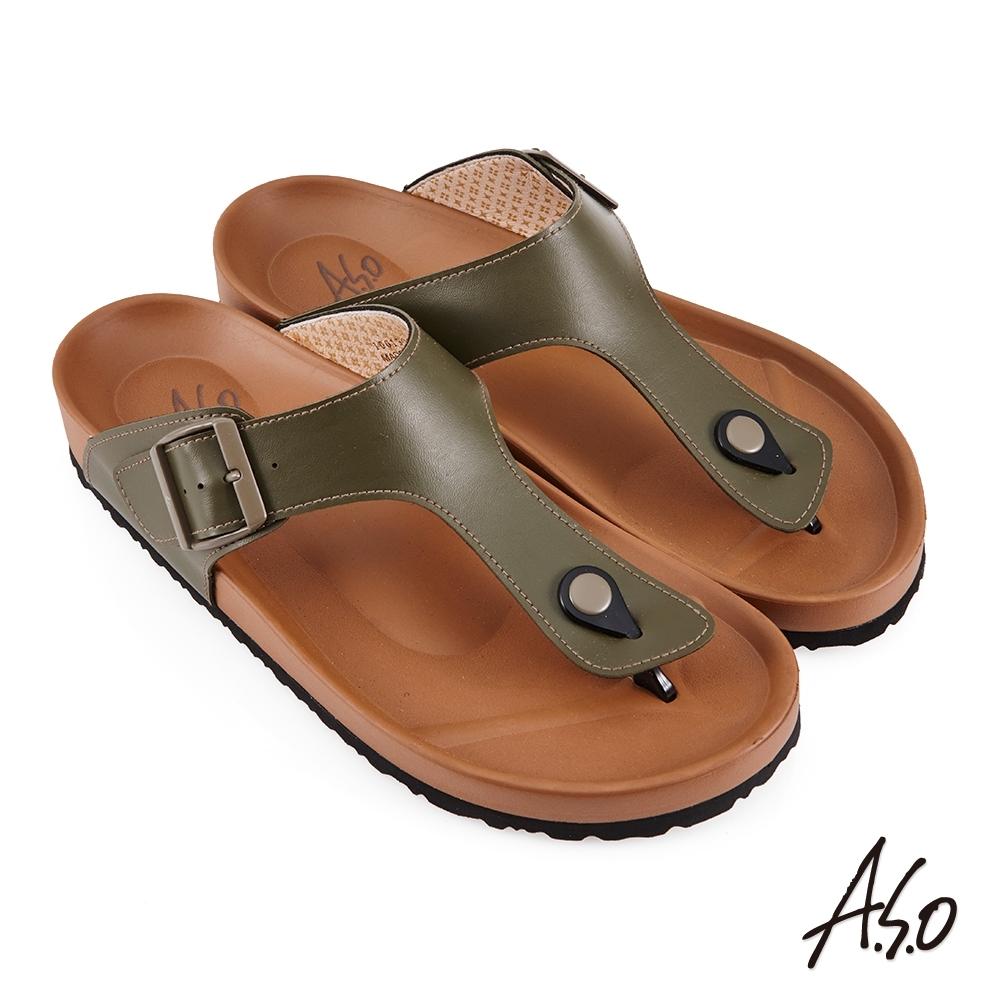 A.S.O 足健康夾腳EVA拖鞋-橄欖綠