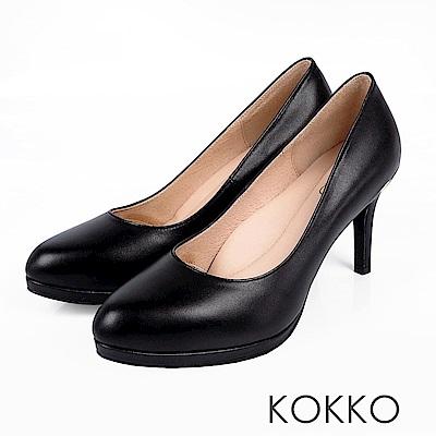 KOKKO - 優雅轉身真皮金屬環美型高跟鞋-迷人黑