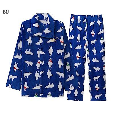 aimerfeel 搖粒絨成套睡衣-藍色-822366-BU