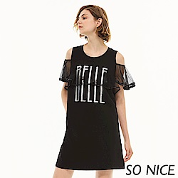 SO NICE時尚網紗羅馬布洋裝