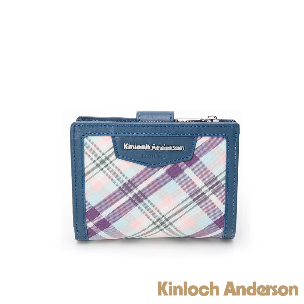 【金安德森】Tartan 釦式短夾-藍色