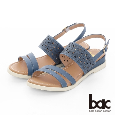 【bac】繽紛曼谷 -原色感不對襯雷射沖孔雕花楔型底台涼鞋-淺藍