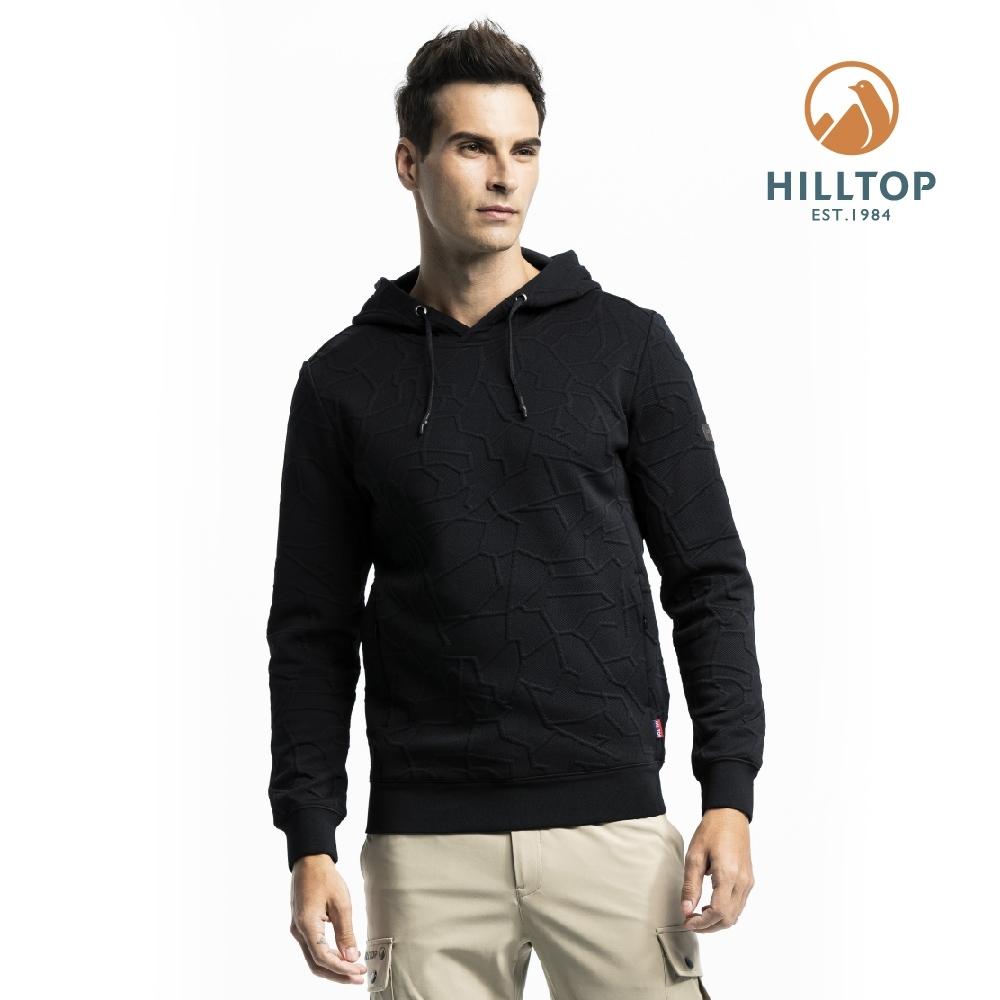 【hilltop山頂鳥】男款連帽保暖刷毛彈性上衣H51MI6魚子醬黑