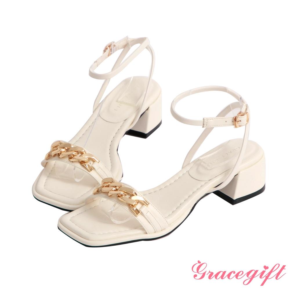 Grace gift-金屬鍊條一字中跟涼鞋 米白