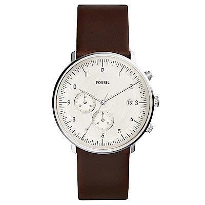 FOSSILChaseTimer紳士風尚真皮計時手錶(FS5488)-米X咖啡/42mm