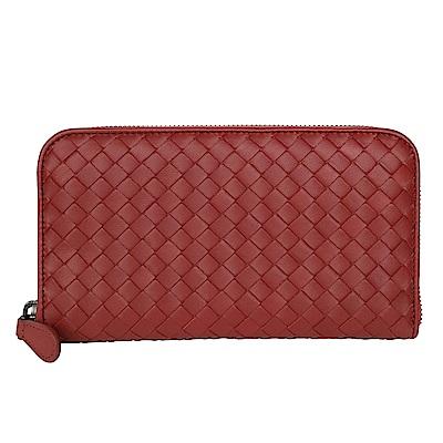BOTTEGA VENETA 經典小羊皮編織拉鍊長夾 (磚紅)