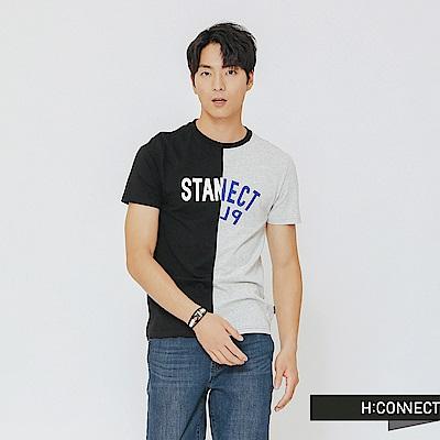 H:CONNECT 韓國品牌 男裝-拼接撞色設計感T-shirt-黑