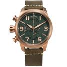 elegantsis / 復古軍事 藍寶石水晶玻璃 真皮手錶-綠x古銅金框x褐/46mm