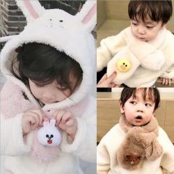 小衣衫童裝 可愛立體卡通公仔仿兔毛圍巾1061217