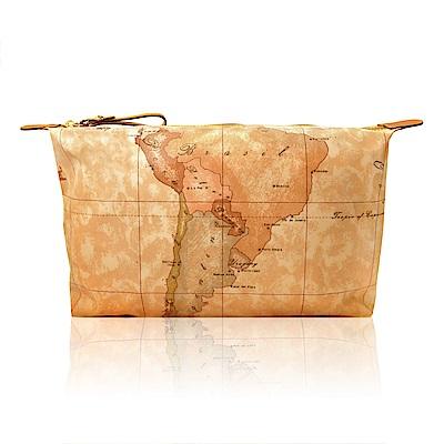 Alviero Martini 義大利地圖包  拉鍊尼龍化裝包(地圖黃/ 大)