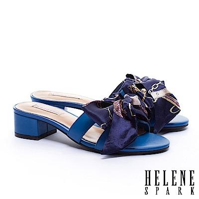 拖鞋 HELENE SPARK 義式優雅兩穿印花緞布羊皮粗低跟拖鞋-藍