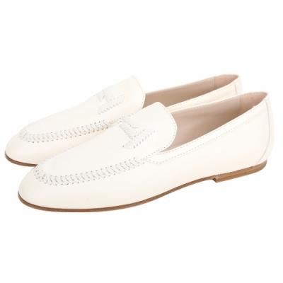 TOD'S DoubleT 米白色牛皮縫線休閒樂福鞋