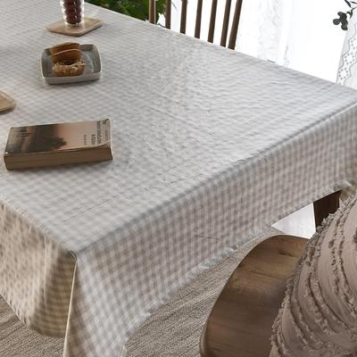 完美主義 米黃格紋防水桌巾-2入組/餐桌巾/餐桌墊/蓋布/桌布/韓國製-130x180cm4人桌