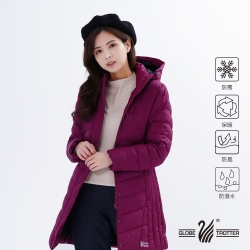 【遊遍天下】女款長版防風防潑水連帽羽絨外套GJ22026紫紅
