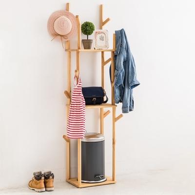 【優貝選】MIT手做日式無印風多功能實木置物架/掛衣架
