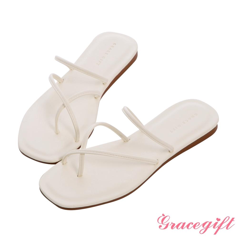 Grace gift-交叉套趾平底涼拖鞋 白