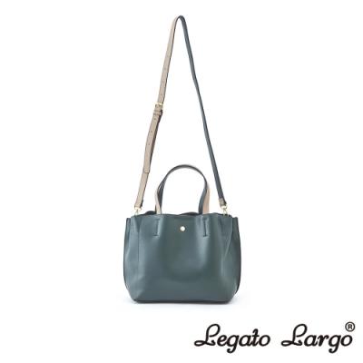 Legato Largo 驚異的輕量化 小法式輕便簡約 手提斜背兩用包 深綠x米色