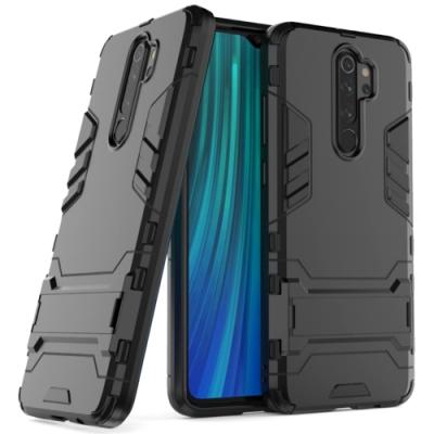 PKG OPPO A5/A9 2020 保護殼(內軟外硬+隱藏支架)2合1防護殼套-黑