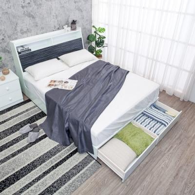 Birdie南亞塑鋼-5尺雙人後二抽屜收納型塑鋼床組(床頭箱+抽屜床底)(不含床墊)(鐵刀木色)
