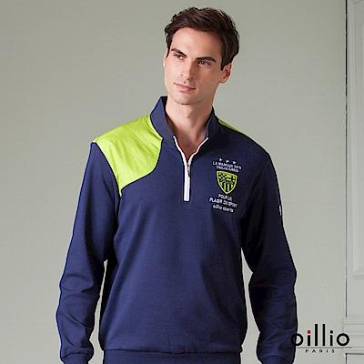 oillio歐洲貴族 長袖立領款式T恤 天然棉質衣料 丈青色