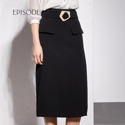 EPISODE - 簡約素色腰帶設計開叉半身裙