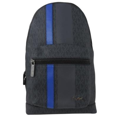 MICHAEL KORS COOPER 條紋款PVC拉鍊單肩後背包(藍黑)