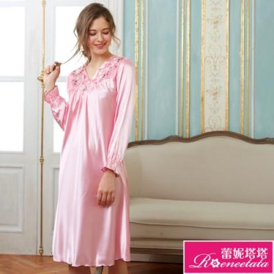 睡衣 彈性珍珠絲質 長袖連身睡衣(R85212-2高雅刺繡 粉) 蕾妮塔塔