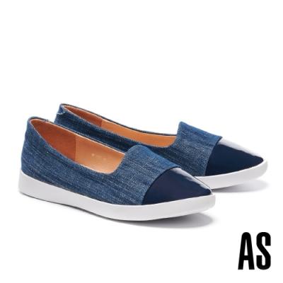 休閒鞋 AS 簡約率性異材質拼接牛仔布厚底休閒鞋-藍