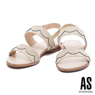 涼鞋 AS 淡雅氣質波浪造型壓紋牛皮條帶低跟涼鞋-米