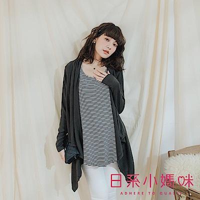 日系小媽咪孕婦裝-哺乳衣~假二件率性下襬不規則側開條紋上衣