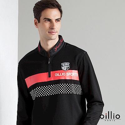 歐洲貴族 oillio 長袖T恤 立領刺繡 點點款式 黑色