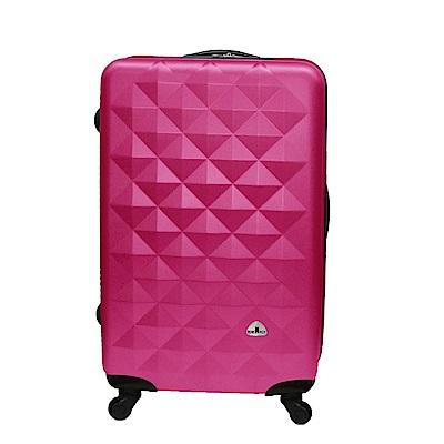 Bear Box 立體菱格晶鑽系列經典24吋 輕硬殼旅行箱行李箱-桃紅色