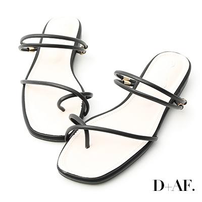 D+AF 夏氛嚴選.套指細帶2way平底涼鞋*黑