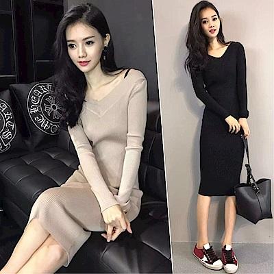 DABI 韓系包臀針織修身過膝長袖洋裝
