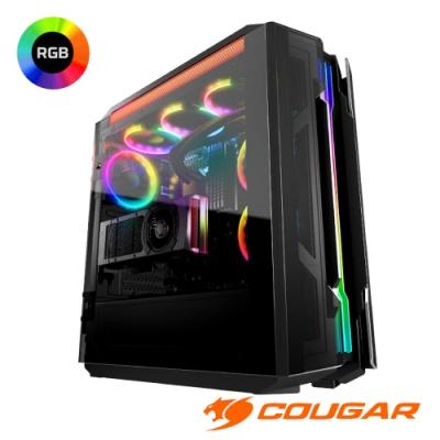 COUGAR 美洲獅 GEMINI T 閃耀RGB燈效全景透明側窗機箱 鷗翼式開窗機殼