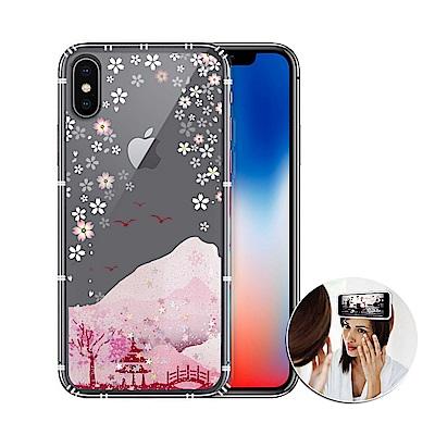 EVO反重力 iPhone Xs / X 5.8吋 亮粉空壓手機殼(浪漫櫻花)有吊飾孔