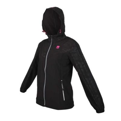 FIRESTAR 女輕量彈性連帽外套-反光 慢跑 路跑 迷彩 JL576-10 迷彩黑粉銀