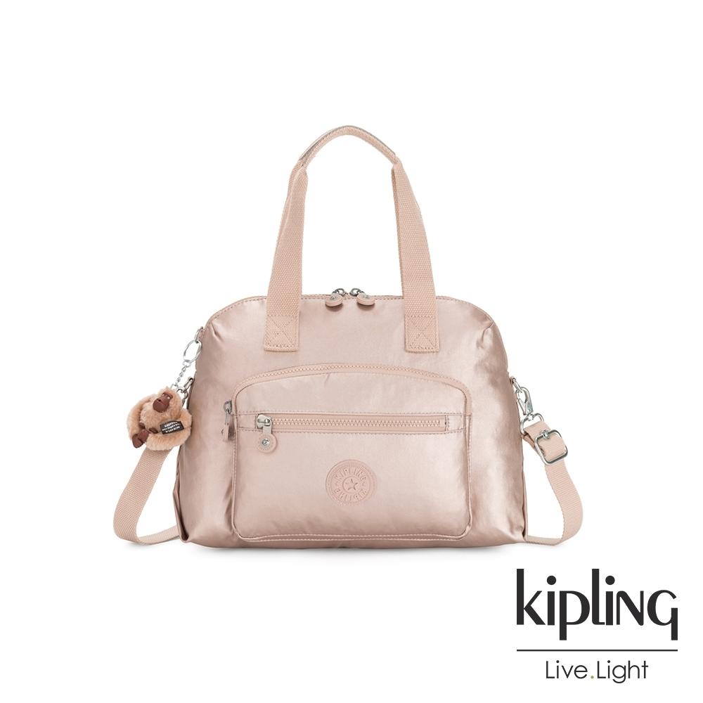 Kipling 金屬光玫瑰金大容量手提兩用斜背包-TRACY