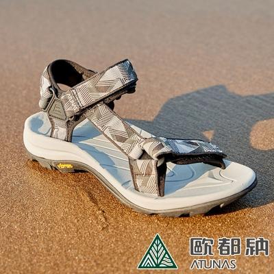【ATUNAS 歐都納】男款暢遊天地減震織帶涼鞋A1GCCC04圖騰灰/晴雨兩用鞋/抗菌耐磨/黃金大底
