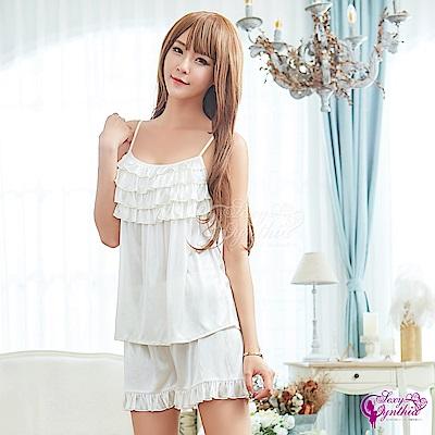 Sexy Cynthia性感睡衣 純白柔緞荷葉領口上衣短褲二件組-白F