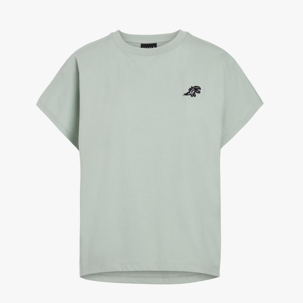 agnes b. - Sport b. 恐龍胸章圓領素色短袖上衣(女)(綠)