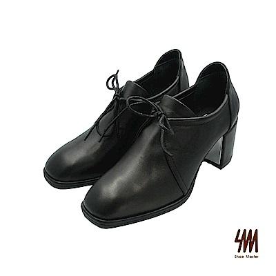 SM-時尚經典 方頭全真皮粗跟牛津鞋-黑色 (兩色)