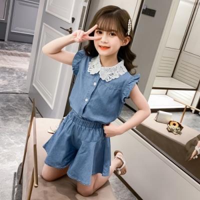 小衣衫童裝 中大童甜美蕾絲翻領花邊牛仔短褲套裝1090715