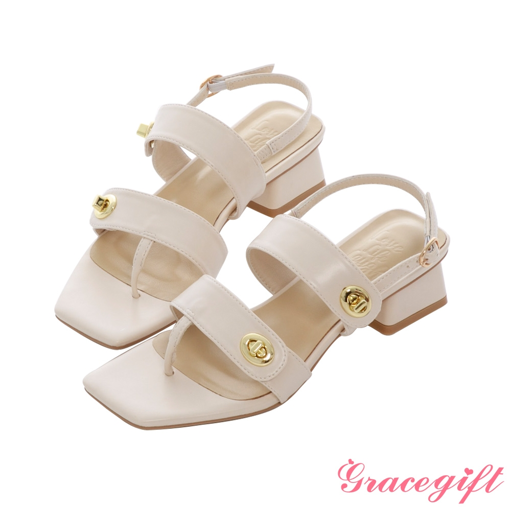 Grace gift X Kerina-聯名方頭轉釦夾腳低跟涼鞋 米白